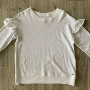White ruffle sweat shirt